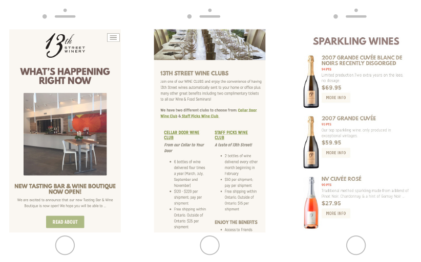 13th Street Winery Responsive website Made by Frame Niagara St. Catharines