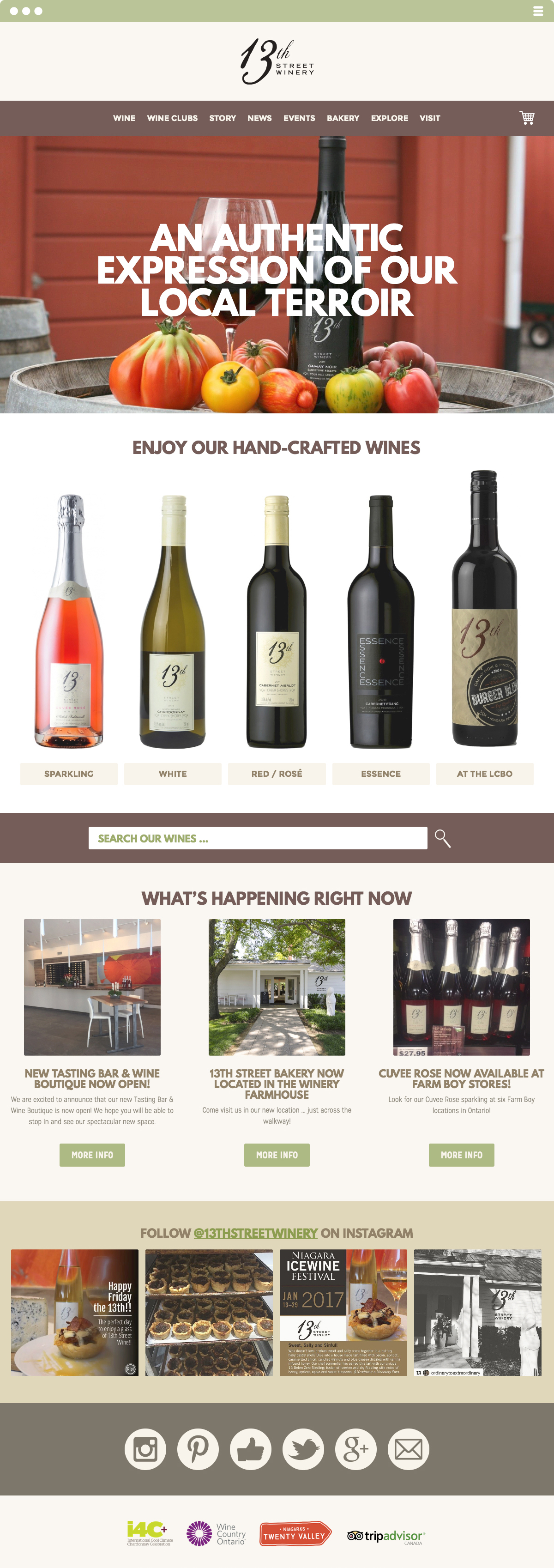 13th Street Winery Website Made by Frame Niagara St. Catharines