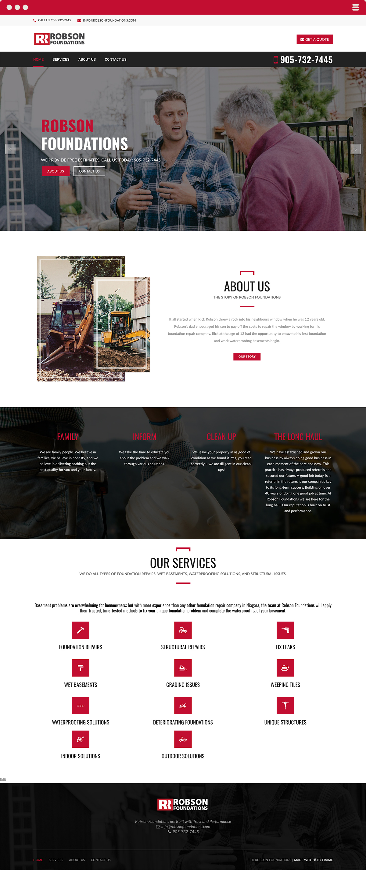 Robson Foundations Website Design & Development by Made By Frame Niagara