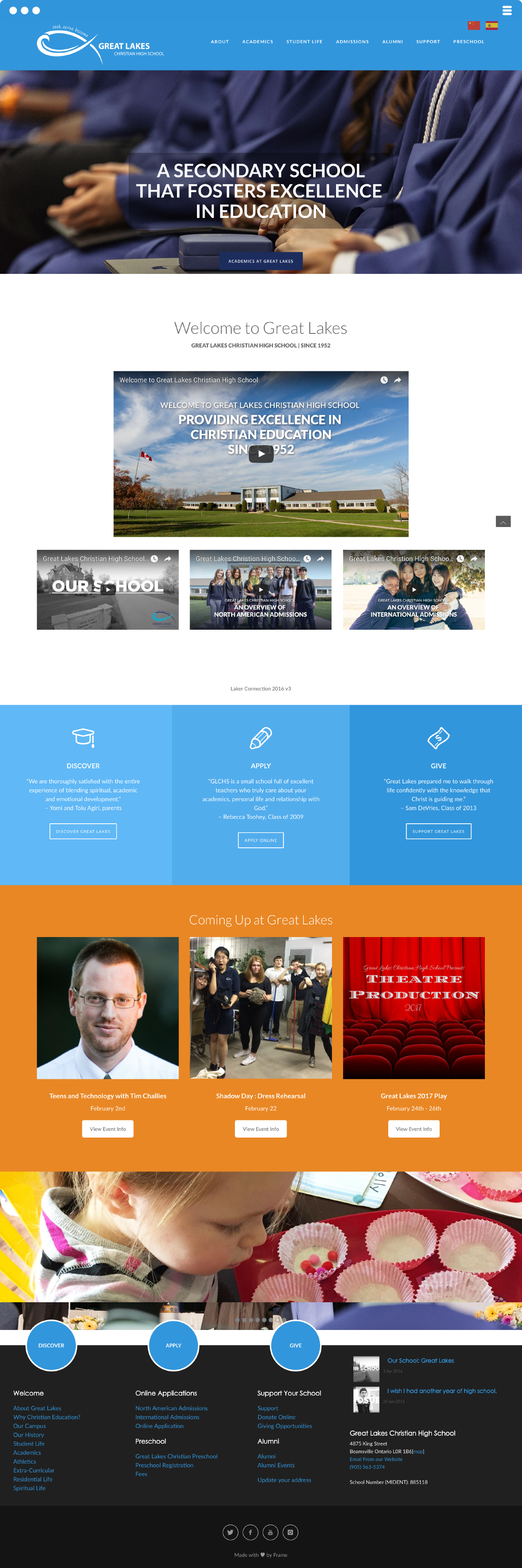 Great Lakes High School Website Design & Development Made By Frame