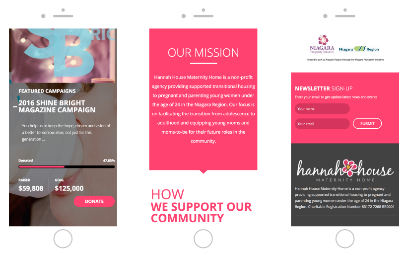 Hannah House responsive mobile website design and development Made By Frame