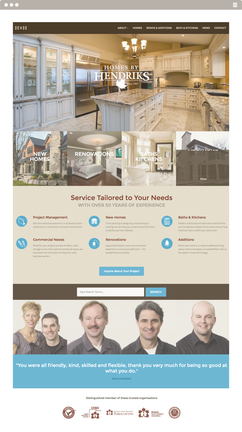 Homes by Hendriks Website Made By Frame