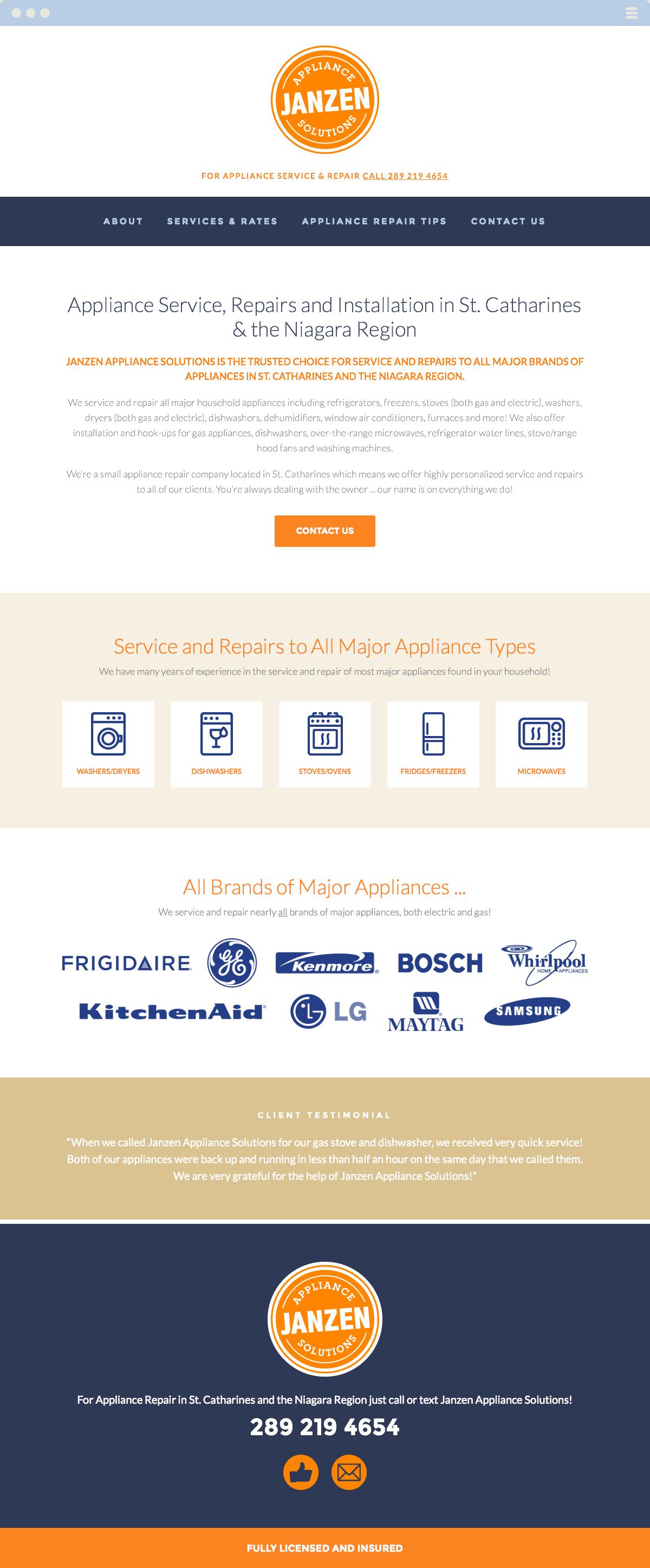 Janzen Appliance Solutions Website Design & Development Made By Frame