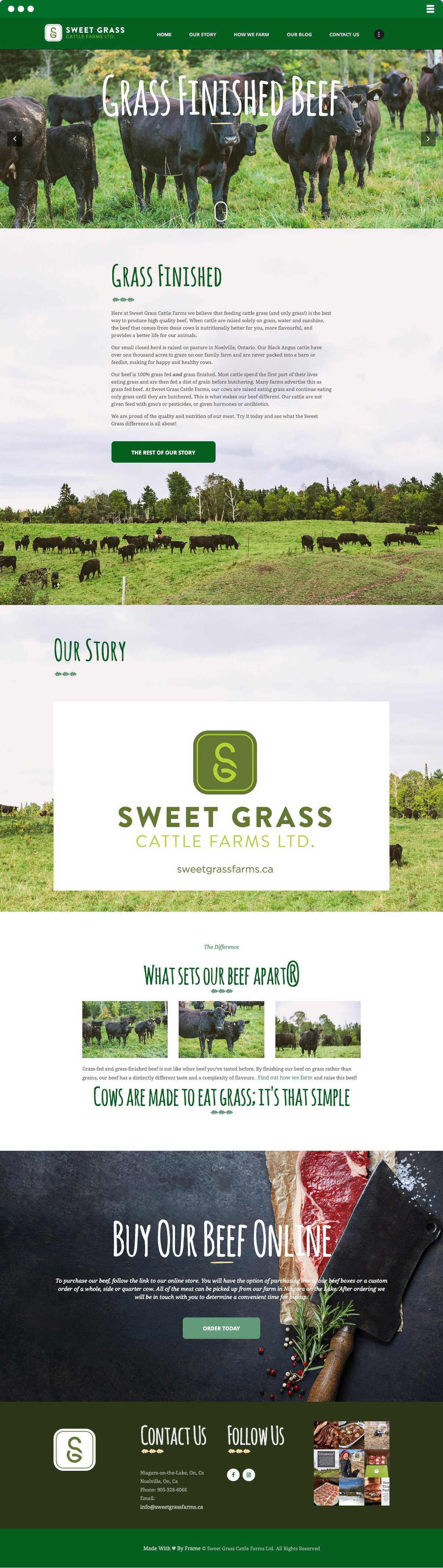 Sweet Grass Cattle Farm Website Made by Frame