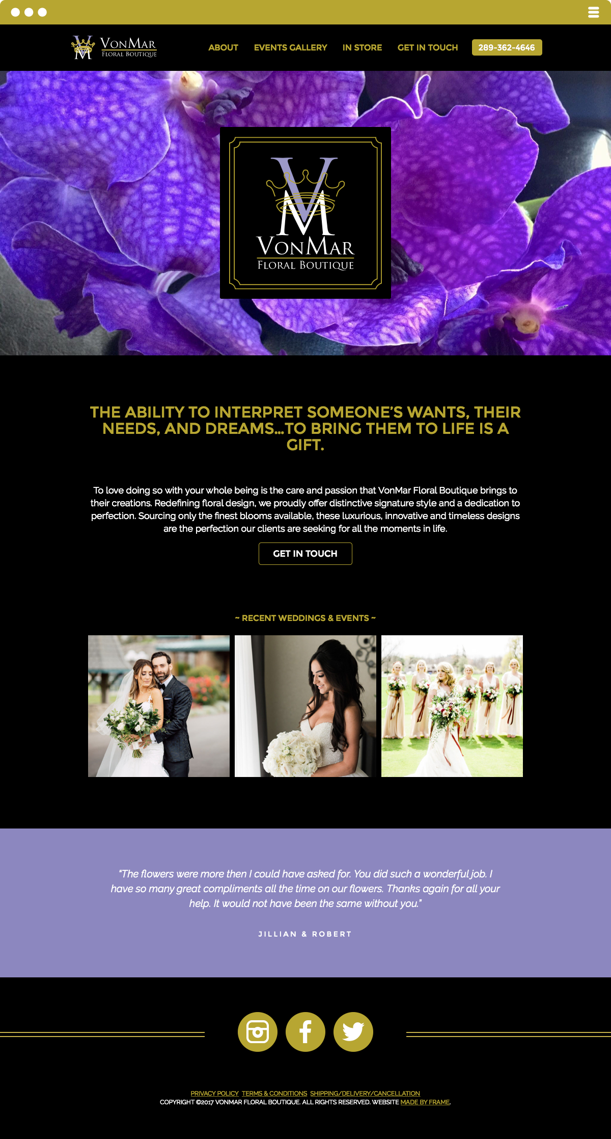VonMar Floral Boutique Website Made by Frame
