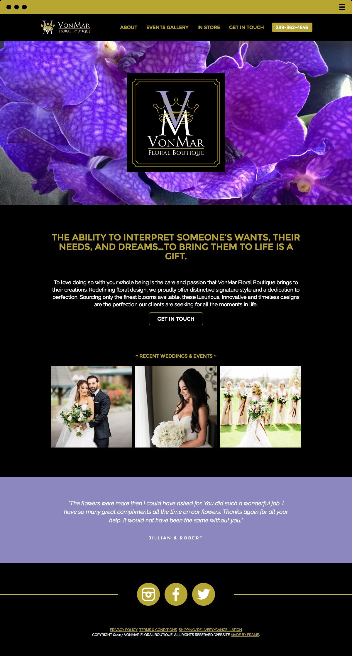 VonMar Floral Boutique Website Made by Frame